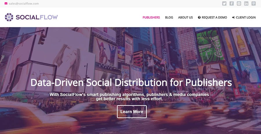 SocialFlow home page with Learn More button.