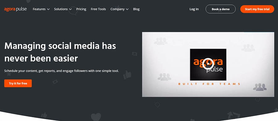Agorapulse home page with a free trial button.