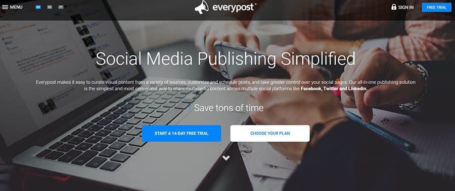Everypost home page with a feature summary.