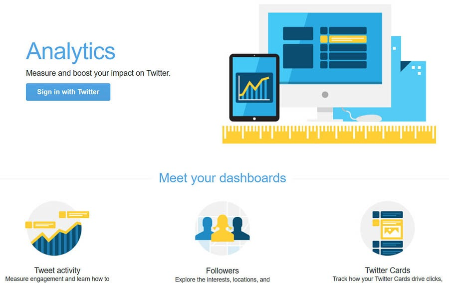 Twitter Analytics home page with a sign-in button.