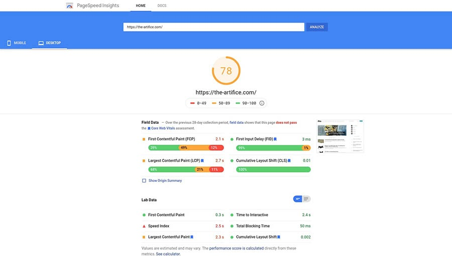 Testing page speed with the PageSpeed Insights tool.