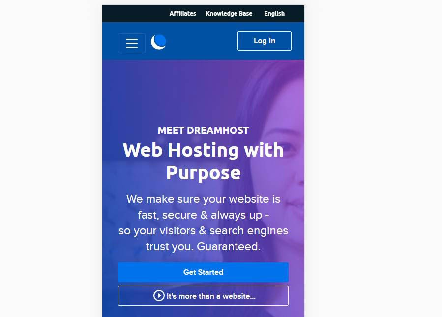 DreamHost's home page on a mobile device.