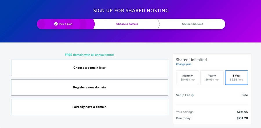 DreamHost account sign-up.