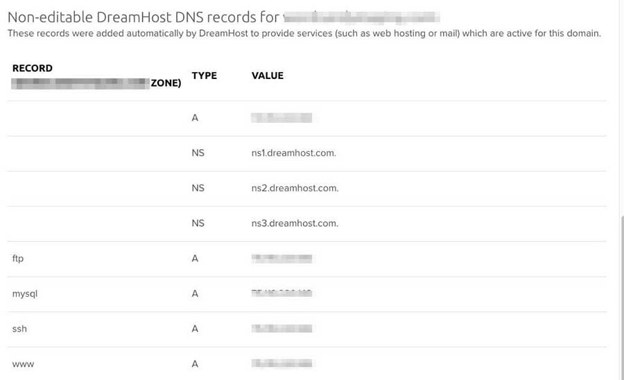 A non-editable DNS record.