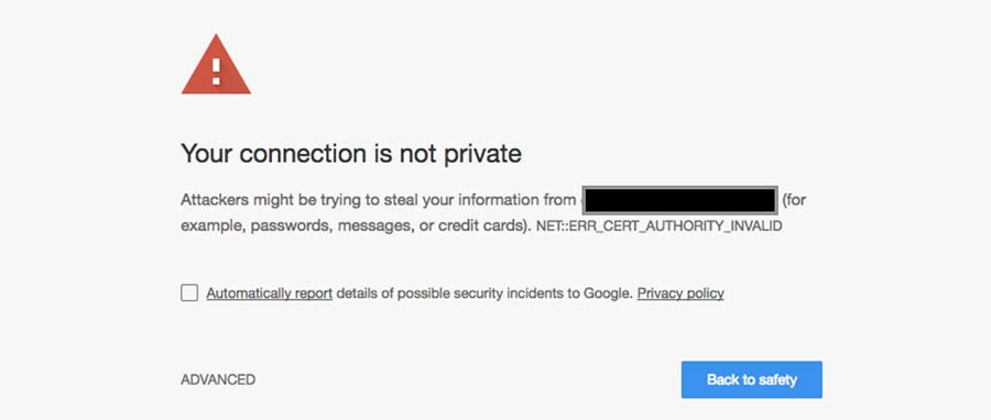 "Website showing ""Your connection is not private"" HTTPS warning."