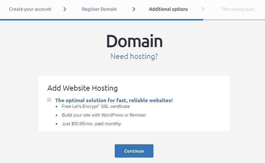 Additional domain options.