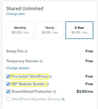 WP Website Builder installation options.