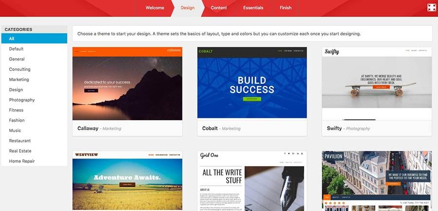 WP Website Builder's Design menu of themes.