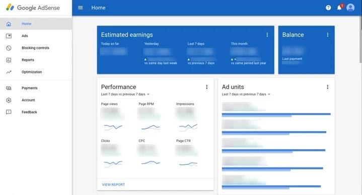 Google AdSense dashboard.