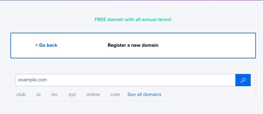 Search for a domain name.
