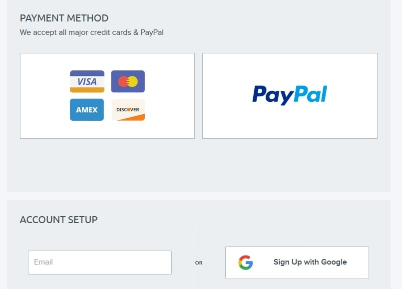 Choosing a payment method for your hosting plan.