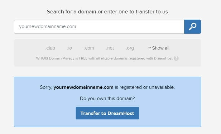 Searching for a domain.
