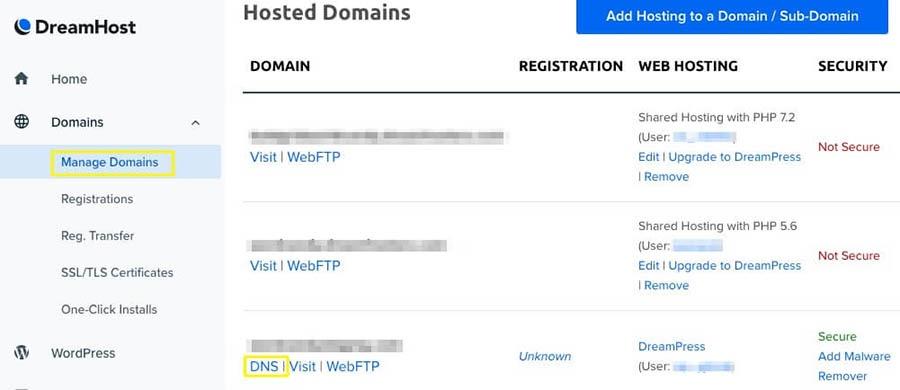 The Manage Domains menu.