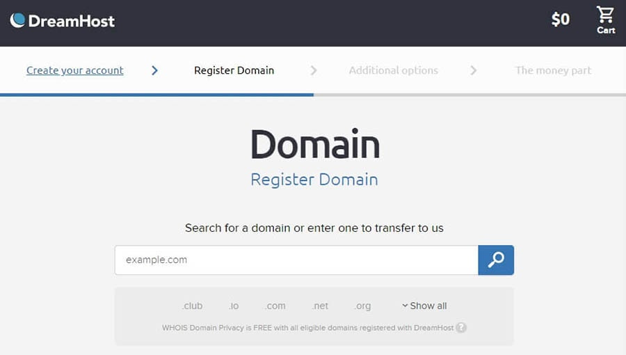 Registering a domain.