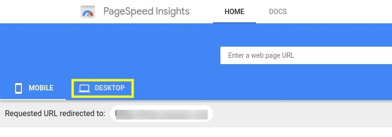 The 'desktop' tab of Google PageSpeed Insights.