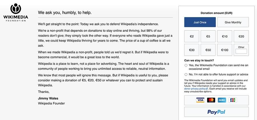 The Wikimedia Foundation website.