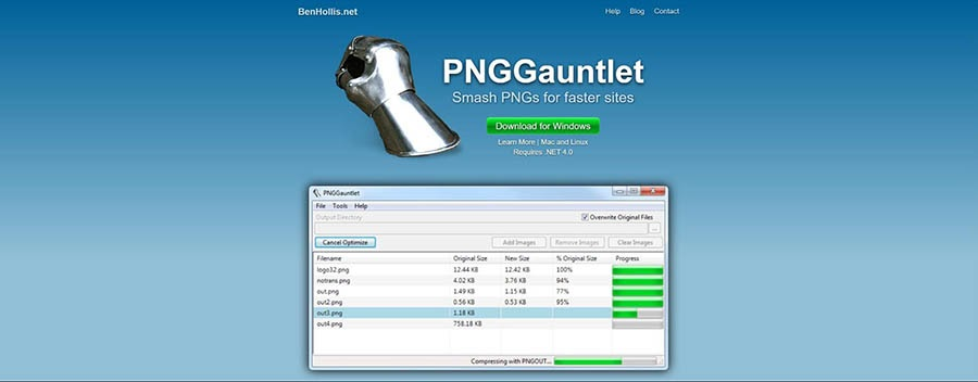 The PNGGauntlet compression tool.