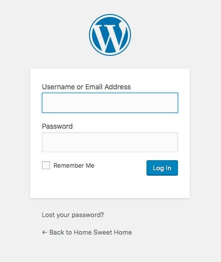 Logging in to WordPress.