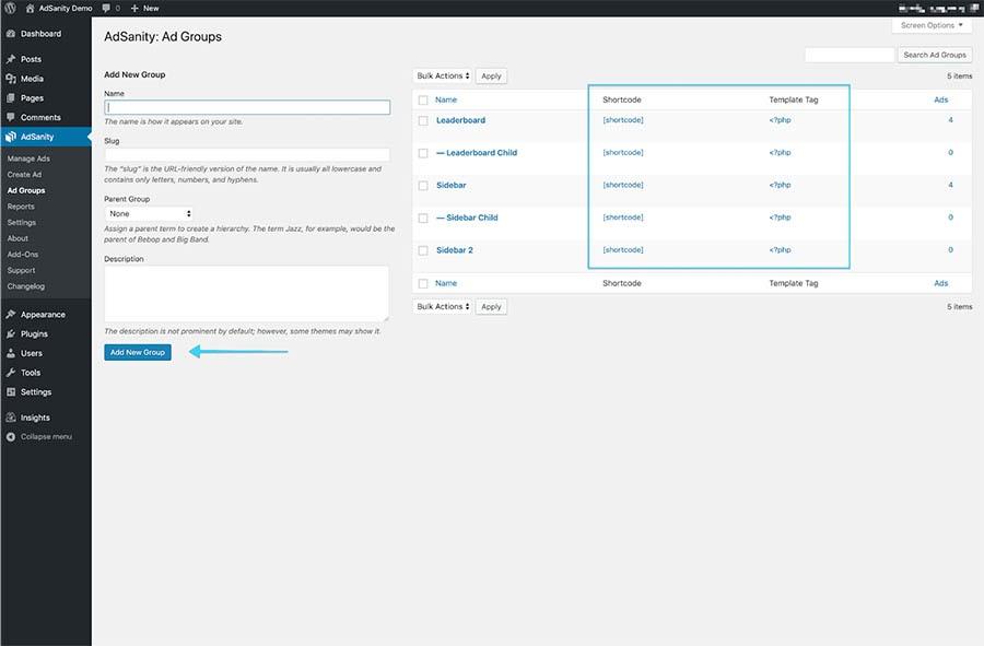 The AdSanity WordPress plugin in the WordPress dashboard.