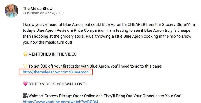 """YouTube channel """"The Melea Show"""" video description showing Blue Apron affiliate link."""