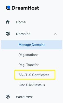 The SSL/TLS Certificate menu.