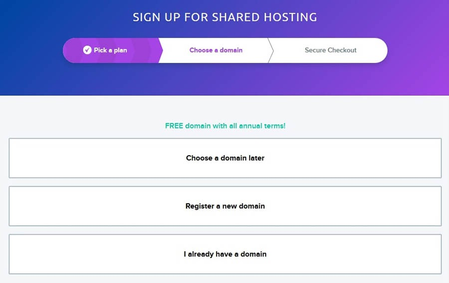 Domain registration options for new DreamHost users.