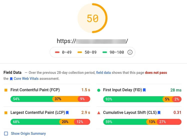 A sample of Google's PageSpeed Insights results.